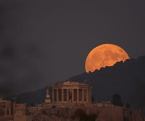 moon, Greece, and photography image