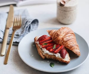 coffee, cream cheese, and croissant image