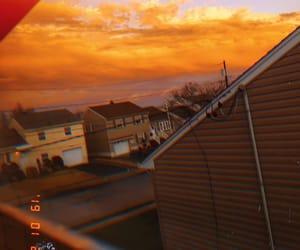 clouds, orange, and sky image