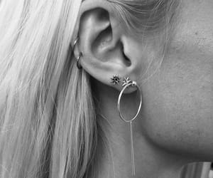 accessories, earrings, and black and white image