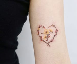 art, flower, and heart image