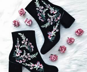 boots, elegant, and flowers image