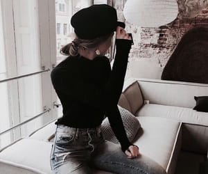 beret, couch, and girl image