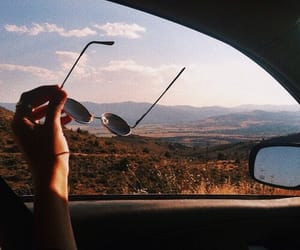 car, travel, and sunglasses image