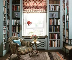 book, bookshelves, and snow image