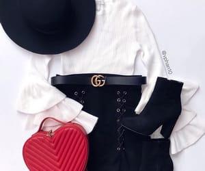 black hat, fashion, and black skirt image