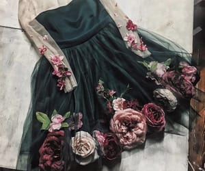 dress, emerald, and floral image