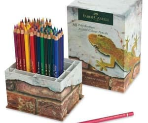 art supplies, box set, and coloring pencil image