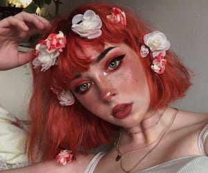 colored hair, flores, and flowers image