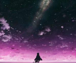 anime, sky, and purple image