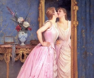 art, mirror, and kiss image