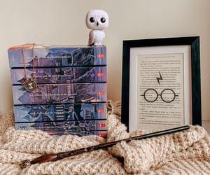 book shelf, fantasy, and harry potter image