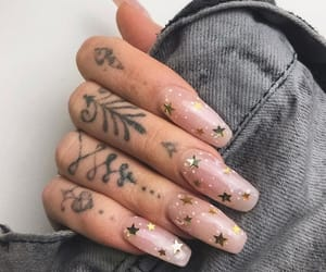 nails, stars, and tattoo image