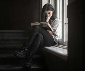 girl, book, and black image