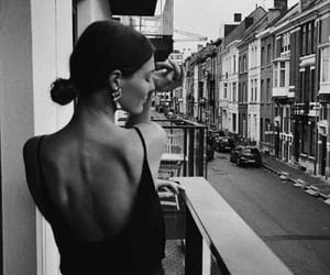 black&white, buildings, and girl image