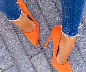 heels, high heels, and orange image