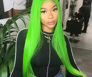 colorful hair, eyebrows, and green image
