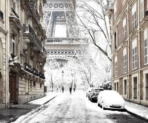 snow, paris, and winter image