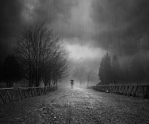 black and white, mysterious, and rainy day image