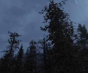 fallout, storm clouds, and forest image