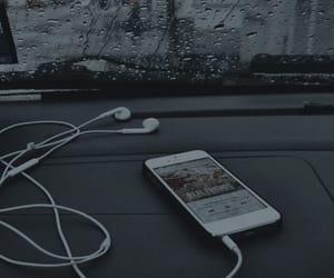 music, rain, and iphone image