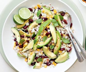 recipe, vegan, and rice salad image