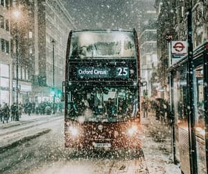 city, snow, and bus image