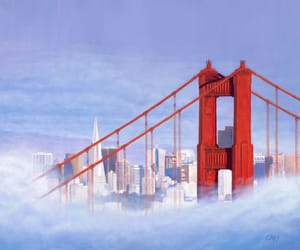 art, golden gate, and sky image