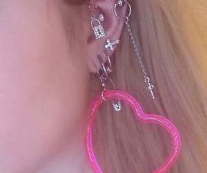 earring, heart, and pink image