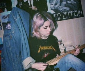 girl, grunge, and guitar image