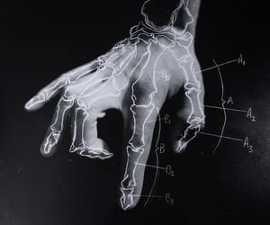 hand, bones, and black and white image