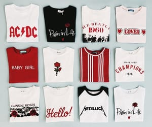 fashion, red, and t-shirt image
