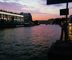 dawn, river, and sunset image