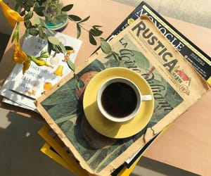coffee, book, and yellow image