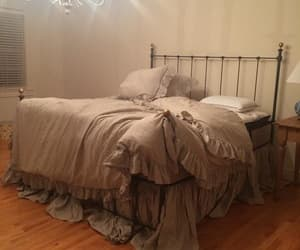 etsy, bedding natural flax, and bedskirt king image