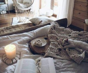 bed, candle, and home image