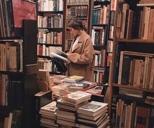 book, library, and girl image