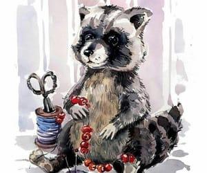 arte, dibujos, and mapache image
