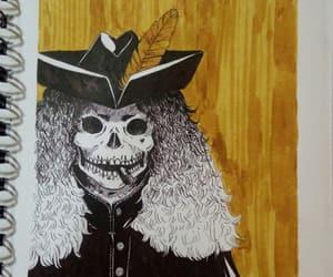 blackandwhite, skull, and yellow image