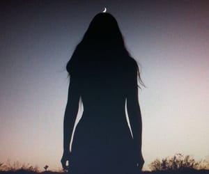 girl, aesthetic, and moon image