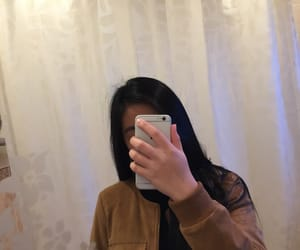 black hair, iphone, and jacket image