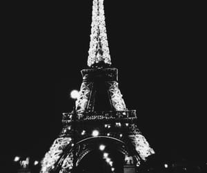 black and white, buildings, and eiffel tower image