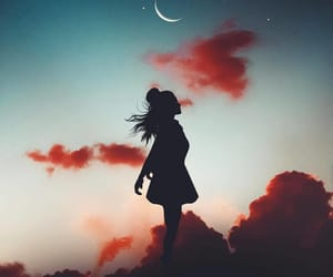 girl, photography, and moon image