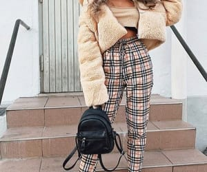 backpack, fur, and plaid image