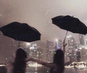 city, girl, and rain image
