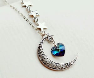 necklace, moon, and heart image