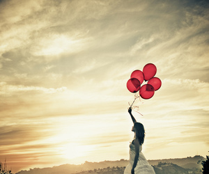 girl, balloons, and sky image