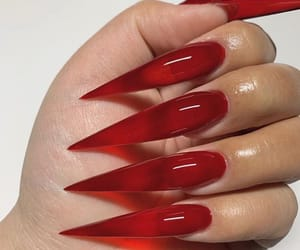 nails, red, and acrylic image