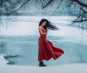 girl, winter, and lake image
