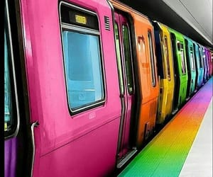 colors, rainbow, and train image
